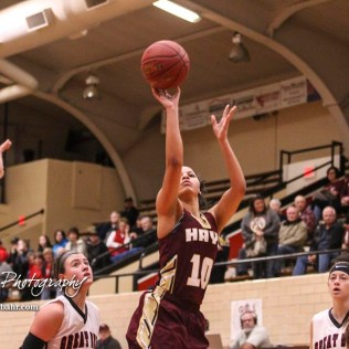 Hays Lady Indian #10 Tasiah Nunnery takes a shot from outside of the lane. The Great Bend Lady Panthers defeated the Hays Lady Indians by a score of 54 to 41 at Great Bend High School in Great Bend, Kansas on January 10, 2017. (Photo: Joey Bahr, www.joeybahr.com)
