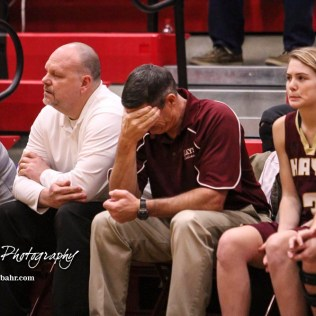 Hays Lady Indian Head Coach Kirk Maska reaches to another turnover. The Great Bend Lady Panthers defeated the Hays Lady Indians by a score of 54 to 41 at Great Bend High School in Great Bend, Kansas on January 10, 2017. (Photo: Joey Bahr, www.joeybahr.com)