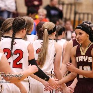 Members of the Great Bend Lady Panthers and Hays Lady Indians shake hands following the game. The Great Bend Lady Panthers defeated the Hays Lady Indians by a score of 54 to 41 at Great Bend High School in Great Bend, Kansas on January 10, 2017. (Photo: Joey Bahr, www.joeybahr.com)