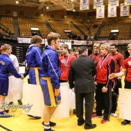 Members of the Norton and Hoisington Wrestling teams shake hands following the tournament. The KSHSAA Class 321A State Wrestling Championships were held at Gross Memorial Coliseum on the campus of Fort Hays State University in Hays, Kansas on February 25, 2017. (Photo: Joey Bahr, www.joeybahr.com)