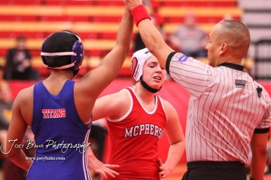 Moriah Smith (Wichita South) won by 6-3 decision over Haley Schafer (McPherson). The first ever Kansas High School Girls Wrestling Championship was held at the Roundhouse at McPherson High School in McPherson, Kansas on February 11, 2017. (Photo: Joey Bahr, www.joeybahr.com)
