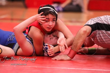 Anayka Besco (Rose Hill) pins Abigail Daniels (Gardner-Edgerton) to win the match. The first ever Kansas High School Girls Wrestling Championship was held at the Roundhouse at McPherson High School in McPherson, Kansas on February 11, 2017. (Photo: Joey Bahr, www.joeybahr.com)