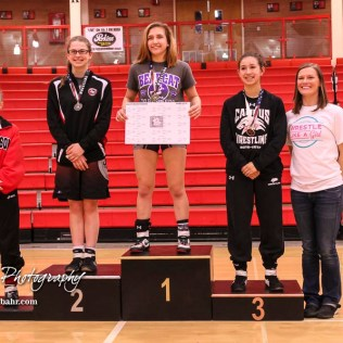 Weight Class 120-126 finishers: 1st Place - Kacie Jones of Burlingame, 2nd Place - Montana Grahem of Jefferson West, 3rd Place - Yasmin Puentas of Wichita-Haysville Campus, 4th Place - Kaleigh Marbut of McPherson. The first ever Kansas High School Girls Wrestling Championship was held at the Roundhouse at McPherson High School in McPherson, Kansas on February 11, 2017. (Photo: Joey Bahr, www.joeybahr.com)