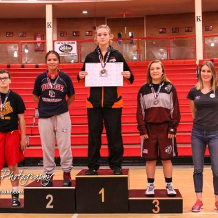Weight Class 132-138 top finishers: 1st Place - Morgan Mayginnes of Onaga, 2nd Place - Mariyah Reyes of Dodge City, 3rd Place - Hannah Kreutzer of Buhler, 4th Place - Abbie Jones of Altamont-Labette County. The first ever Kansas High School Girls Wrestling Championship was held at the Roundhouse at McPherson High School in McPherson, Kansas on February 11, 2017. (Photo: Joey Bahr, www.joeybahr.com)