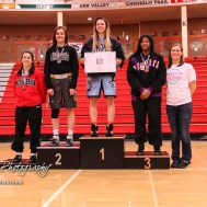 Weight Class 145 top finishers: 1st Place - Lyric Gonsalves of Clearwater, 2nd Place - Mason Claibourn of Fredonia, 3rd Place - Moriah Smith of Wichita South, 4th Place - Haley Schafer of McPherson. The first ever Kansas High School Girls Wrestling Championship was held at the Roundhouse at McPherson High School in McPherson, Kansas on February 11, 2017. (Photo: Joey Bahr, www.joeybahr.com)