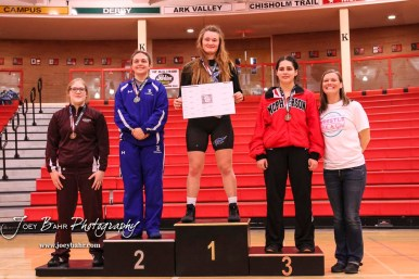 Weight Class 160 1st Place - Elisa Robinson of Junction City, 2nd Place - Tia Hayworth of Lincoln, 3rd Place - Katelyn Simmons of McPherson, 4th Place - Dru Longbrake of Atchison-Riverbend International. The first ever Kansas High School Girls Wrestling Championship was held at the Roundhouse at McPherson High School in McPherson, Kansas on February 11, 2017. (Photo: Joey Bahr, www.joeybahr.com)