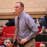 McPherson Lady Bullpup Head Coach Chris Strathman reacts to a play on the floor. The McPherson Lady Bullpups defeated the Great Bend Lady Panthers with a score of 69 to 38 at the Great Bend High School Fieldhouse in Great Bend, Kansas on February 7, 2017. (Photo: Joey Bahr, www.joeybahr.com)