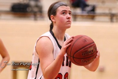 Great Bend Lady Panther #22 Carley Brack shoots a free throw attempt. The McPherson Lady Bullpups defeated the Great Bend Lady Panthers with a score of 69 to 38 at the Great Bend High School Fieldhouse in Great Bend, Kansas on February 7, 2017. (Photo: Joey Bahr, www.joeybahr.com)