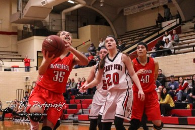 McPherson Lady Bullpup #35 Jordan Bruner goes for a layup. The McPherson Lady Bullpups defeated the Great Bend Lady Panthers with a score of 69 to 38 at the Great Bend High School Fieldhouse in Great Bend, Kansas on February 7, 2017. (Photo: Joey Bahr, www.joeybahr.com)