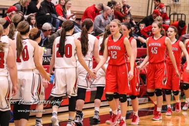 Members of the Great Bend Lady Panthers and McPherson Lady Bullpups shake hands following the game. The McPherson Lady Bullpups defeated the Great Bend Lady Panthers with a score of 69 to 38 at the Great Bend High School Fieldhouse in Great Bend, Kansas on February 7, 2017. (Photo: Joey Bahr, www.joeybahr.com)