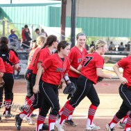 The Great Bend Lady Panthers take the field to start the game. The Great Bend Lady Panthers defeated the Dodge City Lady Demons 15 to 5 at the Great Bend Sports Complex in Great Bend, Kansas on April 18, 2017. (Photo: Joey Bahr, www.joeybahr.com)