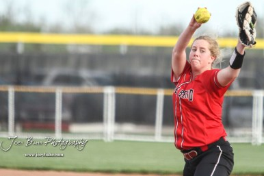 Great Bend Lady Panther #13 Hunter Marcum throws a pitch in the Top of the 3rd Inning. The Great Bend Lady Panthers defeated the Dodge City Lady Demons 15 to 5 at the Great Bend Sports Complex in Great Bend, Kansas on April 18, 2017. (Photo: Joey Bahr, www.joeybahr.com)