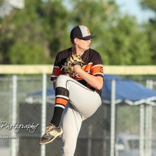 Ellis Railroader #5 Carter Bollig winds up to throw a pitch in the top of the fifth inning. The Bluestem Lions defeated the Ellis Railroaders 8 to 5 in the KSHSAA Class 2-1A State Baseball Championship game at Great Bend Sports Complex in Great Bend, Kansas on May 26, 2017. (Photo: Joey Bahr, www.joeybahr.com)