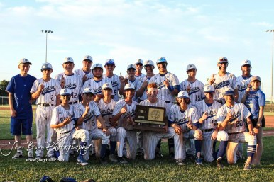 The Bluestem Lions line up for a group portrait with the State Championship trophy. The Bluestem Lions defeated the Ellis Railroaders 8 to 5 in the KSHSAA Class 2-1A State Baseball Championship game at Great Bend Sports Complex in Great Bend, Kansas on May 26, 2017. (Photo: Joey Bahr, www.joeybahr.com)