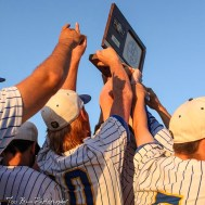 The Bluestem Lions hold aloft the State Championship trophy. The Bluestem Lions defeated the Ellis Railroaders 8 to 5 in the KSHSAA Class 2-1A State Baseball Championship game at Great Bend Sports Complex in Great Bend, Kansas on May 26, 2017. (Photo: Joey Bahr, www.joeybahr.com)