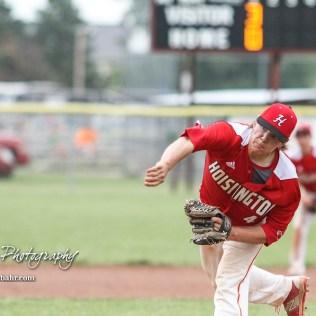 Hoisington Cardinal #4 Jeremy Breit throws a pitch in the top of the second inning. The Pratt Greenbacks defeated the Hoisington Cardinals 12 to 0 at Bicentennial Park in Hoisington, Kansas on May 9, 2017. (Photo: Joey Bahr, www.joeybahr.com)