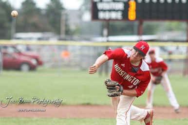 Hoisington Cardinal #4 Jeremy Breit throws a pitch in the top of the second inning. The Pratt Greenbacks defeated the Hoisington Cardinals 12 to 0 at Bicentennial Park in Hoisington, Kansas on May 9, 2017. (Photo: Joey Bahr, www.joeybahr.com)