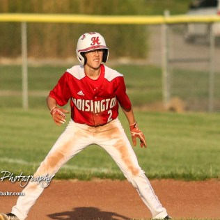 Hoisington Cardinal #2 Derek Boxberger watches for an opportunity to steal second in the bottom of the fourth inning. The Pratt Greenbacks defeated the Hoisington Cardinals 12 to 0 at Bicentennial Park in Hoisington, Kansas on May 9, 2017. (Photo: Joey Bahr, www.joeybahr.com)