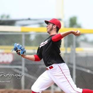 Great Bend Chief Logan Perry (#13) throws a pitch in the top of the first inning. The Great Bend American Legion Post 180 AAA Cheifs defeated the Hays American Legion Post 173 AAA Eagles 3 to 1 to advance to the AAA Zone 8 Championship at the Great Bend Sports Complex in Great Bend, Kansas on July 15, 2017. (Photo: Joey Bahr, www.joeybahr.com)