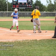 McPherson Senior Alex Sitts (#3) crosses home to score a tying run in the bottom of the third inning. The McPherson American Legion Post 24 AAA Seniors defeated the Hutchinson American Legion Post 68 AAA Colts 6 to 4 to advance to the AAA Zone 8 Championship at the Great Bend Sports Complex in Great Bend, Kansas on July 15, 2017. (Photo: Joey Bahr, www.joeybahr.com)