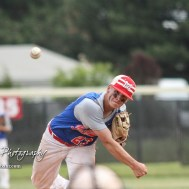 McPherson Senior Dylan Werries (#23) throws a pitch top of the fourth inning. The McPherson American Legion Post 24 AAA Seniors defeated the Hutchinson American Legion Post 68 AAA Colts 6 to 4 to advance to the AAA Zone 8 Championship at the Great Bend Sports Complex in Great Bend, Kansas on July 15, 2017. (Photo: Joey Bahr, www.joeybahr.com)
