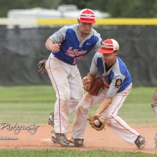 McPherson Senior Zane Myers (#15) steps on the foot of Mikey Saverino (#17) as he gathers up the ball as Hutchinson Colt Austin Cowin (#16) nears second base in the top of the fourth inning. The McPherson American Legion Post 24 AAA Seniors defeated the Hutchinson American Legion Post 68 AAA Colts 6 to 4 to advance to the AAA Zone 8 Championship at the Great Bend Sports Complex in Great Bend, Kansas on July 15, 2017. (Photo: Joey Bahr, www.joeybahr.com)