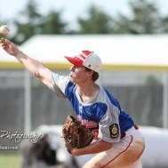McPherson Senior Jack Reifschneider (#18) throws a pitch in the bottom of the second inning. The Great Bend American Legion Post 180 AAA Chiefs defeated the McPherson American Legion Post 24 AAA Seniors 9 to 8 to win the AAA Zone 8 Championship at the Great Bend Sports Complex in Great Bend, Kansas on July 15, 2017. (Photo: Joey Bahr, www.joeybahr.com)