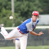 McPherson Senior Corbin Steinert (#26) throws a pitch in the bottom of the fourth inning. The Great Bend American Legion Post 180 AAA Chiefs defeated the McPherson American Legion Post 24 AAA Seniors 9 to 8 to win the AAA Zone 8 Championship at the Great Bend Sports Complex in Great Bend, Kansas on July 15, 2017. (Photo: Joey Bahr, www.joeybahr.com)