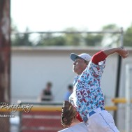 Liberal Bee Jay Sam Beattie (#33) throws a pitch in the bottom of the first inning. The Great Bend Batcats won the second game of the series with the Liberal Bee Jays 8 to 3 at Al Burns Memorial Field in Great Bend, Kansas on July 8, 2017. (Photo: Joey Bahr, www.joeybahr.com)
