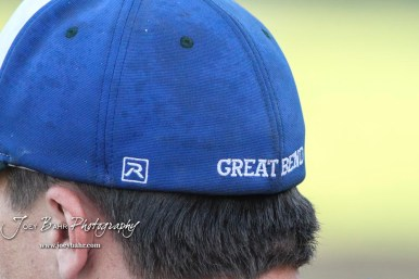 The embroidered name of the host city of the Batcats is seen on the back of the hat of one of the players. The Great Bend Batcats won the second game of the series with the Liberal Bee Jays 8 to 3 at Al Burns Memorial Field in Great Bend, Kansas on July 8, 2017. (Photo: Joey Bahr, www.joeybahr.com)