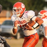 Otis-Bison Cougar #17 Anton Foust rushes with the ball in the first quarter. The Central Plains Oilers defeated the Otis-Bison Cougars by a score of 36 to 12 at Central Plains High School in Claflin, Kansas on September 15, 2017. (Photo: Joey Bahr, www.joeybahr.com)