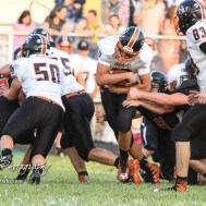 Smoky Valley Viking Cort Elliott (#10) finds a hole to run through in the first quarter. The Larned Indians defeated the Smoky Valley Vikings by a score of 28 to 14 at Earl Roberts Stadium in Larned, Kansas on September 8, 2017. (Photo: Joey Bahr, www.joeybahr.com)