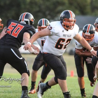 Smoky Valley Viking Nate Grosland (#62) looks for a Larned Indian to block in the first quarter. The Larned Indians defeated the Smoky Valley Vikings by a score of 28 to 14 at Earl Roberts Stadium in Larned, Kansas on September 8, 2017. (Photo: Joey Bahr, www.joeybahr.com)