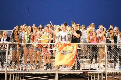 The Smoky Valley Viking student section cheers on their school mates in the third quarter. The Larned Indians defeated the Smoky Valley Vikings by a score of 28 to 14 at Earl Roberts Stadium in Larned, Kansas on September 8, 2017. (Photo: Joey Bahr, www.joeybahr.com)