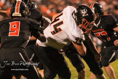 Smoky Valley Viking Riley Odell (#44) leans over the goal line to score a touchdown in the third quarter. The Larned Indians defeated the Smoky Valley Vikings by a score of 28 to 14 at Earl Roberts Stadium in Larned, Kansas on September 8, 2017. (Photo: Joey Bahr, www.joeybahr.com)