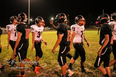 Members of the Smoky Valley Vikings and Larned Indians shake hands following the game. The Larned Indians defeated the Smoky Valley Vikings by a score of 28 to 14 at Earl Roberts Stadium in Larned, Kansas on September 8, 2017. (Photo: Joey Bahr, www.joeybahr.com)
