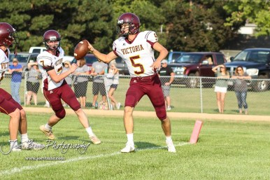 Victoria Knight #5 Collin Kisner scores a touchdown in the second quarter. The Victoria Knights defeated the Central Plains Oilers by a score of 34 to 8 at Central Plains High School in Claflin, Kansas on September 2, 2017. (Photo: Joey Bahr, www.joeybahr.com)