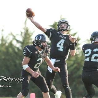 Central Plains Oiler #4 Myles Menges throws a pass in the second quarter. The Victoria Knights defeated the Central Plains Oilers by a score of 34 to 8 at Central Plains High School in Claflin, Kansas on September 2, 2017. (Photo: Joey Bahr, www.joeybahr.com)