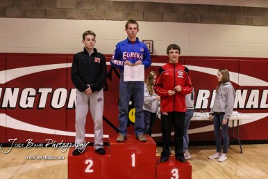 The 106 pound weight class finishers: First Place Kendall Beitz of Eureka, Second Place Isaac Novotny of Marysville, and Third Jordan Anguish of Concordia. The 2017 Cardinal Corner Classic Wrestling Tournament was held at Hoisington Activity Center in Hoisington, Kansas on December 15, 2017. (Photo: Joey Bahr, www.joeybahr.com)