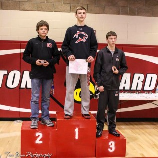 The 113 pound weight class finishers: First Place Drew Liles of Great Bend, Second Place Matthew Schmitz of Marysville, Third Place Corbin Weers of Larned. The 2017 Cardinal Corner Classic Wrestling Tournament was held at Hoisington Activity Center in Hoisington, Kansas on December 15, 2017. (Photo: Joey Bahr, www.joeybahr.com)