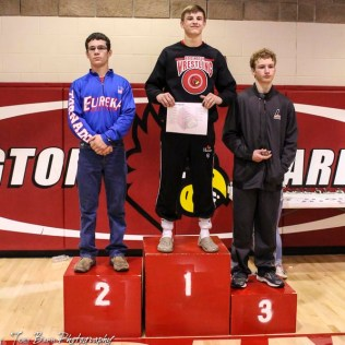 The 138 pound weight class finishers: First Place Tanner Cassity of Hoisington, Second Place Brennan Lowe of Eureka, Third Place Kristopher Nolde of Larned. The 2017 Cardinal Corner Classic Wrestling Tournament was held at Hoisington Activity Center in Hoisington, Kansas on December 15, 2017. (Photo: Joey Bahr, www.joeybahr.com)