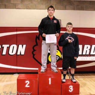 The 160 pound weight class finishers: First Place Storm Slupianek of Marysville, Second Place Joshua Ball of Hoisington (not pictured), Third Place Jeffrey Spragis of Great Bend. The 2017 Cardinal Corner Classic Wrestling Tournament was held at Hoisington Activity Center in Hoisington, Kansas on December 15, 2017. (Photo: Joey Bahr, www.joeybahr.com)