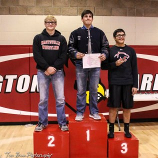 The 195 pound weight class finishers: First Place Josh Seabolt of Cimarron, Second Place Ben Dwerlkotte of Marysville, Third Place Ever Chavez of Great Bend. The 2017 Cardinal Corner Classic Wrestling Tournament was held at Hoisington Activity Center in Hoisington, Kansas on December 15, 2017. (Photo: Joey Bahr, www.joeybahr.com)