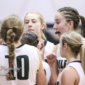 The Central Plains Lady Oilers huddle up prior to the start of the game. The Central Plains Lady Oilers defeated Hoisington Lady Cardinals by a score of 88 to 23 in a basketball game held at Central Plains High School in Claflin, Kansas on December 1, 2017. (Photo: Joey Bahr, www.joeybahr.com)