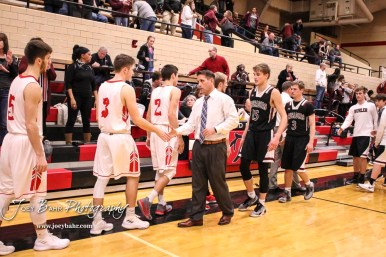 Members of the Buhler Crusaders and Great Bend Panthers shake hands following the game. The Buhler Crusaders defeated the Great Bend Panthers by a score of 44 to 36 the Great Bend High School Field House in Great Bend, Kansas on January 12, 2018. (Photo: Joey Bahr, www.joeybahr.com)