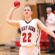 Great Bend Lady Panther #22 Carley Brack winds up to throw a small ball into the crowd during player introductions. The Great Bend Lady Panthers defeated the Buhler Lady Crusaders by a score of 52 to 38 the Great Bend High School Field House in Great Bend, Kansas on January 12, 2018. (Photo: Joey Bahr, www.joeybahr.com)