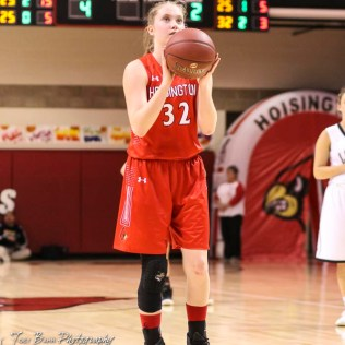 Hoisington Lady Cardinal #32 Kelsi Dalton shoots a free throw attempt. The LaCrosse Lady Leopards defeated the Hoisington Lady Cardinals by a score of 32 to 27 in the First Round of the 2018 Hoisington Winter Jam at the Hoisington Activity Center in Hoisington, Kansas on January 16, 2018. (Photo: Joey Bahr, www.joeybahr.com)