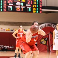Hoisington Lady Cardinal #5 Jocelynn Pedigo shoots a free throw attempt. The LaCrosse Lady Leopards defeated the Hoisington Lady Cardinals by a score of 32 to 27 in the First Round of the 2018 Hoisington Winter Jam at the Hoisington Activity Center in Hoisington, Kansas on January 16, 2018. (Photo: Joey Bahr, www.joeybahr.com)