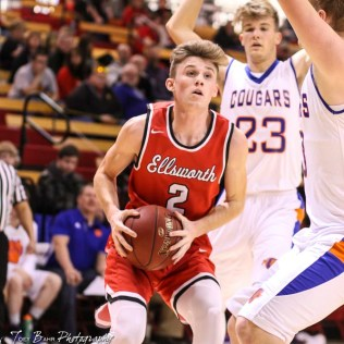 Ellsworth Bearcat #2 Remington Cravens drives to near the basket. The Ellsworth Bearcats defeated the Otis-Bison Cougars by a score of 58 to 37 in the Third Place game of the 2018 Hoisington Winter Jam at the Hoisington Activity Center in Hoisington, Kansas on January 20, 2018. (Photo: Joey Bahr, www.joeybahr.com)