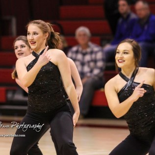 Members of the Hoisington Crimson Girls dance line perform during halftime. The Hoisington Cardinals defeated the Pratt Greenbacks by a score of 47 to 41 in the Boys Championship game of the 2018 Hoisington Winter Jam at the Hoisington Activity Center in Hoisington, Kansas on January 20, 2018. (Photo: Joey Bahr, www.joeybahr.com)